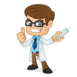 Doctor Holding Medical Injection and Giving Thumb Up Royalty Free Stock Photos