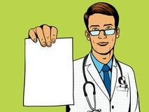 Doctor holding medical prescription pop art vector Royalty Free Stock Photos
