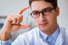 The doctor holding medicines in the lab. Doctor holding medicines in the lab Stock Photos
