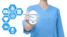 Doctor holding modern medical device and informational icons on white background. Closeup royalty free stock photos