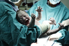 Doctor holding a new born baby Stock Photo