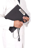 Doctor holding note books and stetoscope Royalty Free Stock Photos