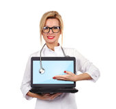 Doctor holding notebook Stock Photo