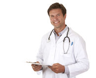 Doctor holding notes. Caucasian doctor is holding notes on white isolated background Royalty Free Stock Photos