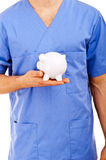 Doctor Holding Piggy Bank Abstract. Over white background Royalty Free Stock Photography