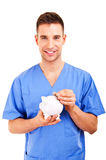 Doctor Holding Piggy Bank Abstract Stock Photography