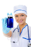 Doctor holding a pills. Royalty Free Stock Photo