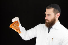 Doctor holding pizza. Royalty Free Stock Image