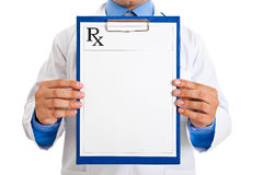 Doctor holding prescription Royalty Free Stock Photo