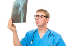 Doctor holding an x-ray pelvis isolated Royalty Free Stock Photography