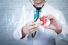 Doctor holding red heart with electrocardiogram. Cardiology concept. Doctor holding red heart with electrocardiogram. Cardiology concept royalty free stock photo