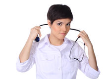 Doctor holding stethoscope Stock Photography