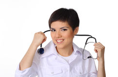 Doctor holding stethoscope Stock Photos