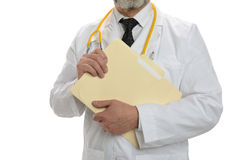 Doctor holding a stethoscope and a folder Stock Photography