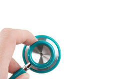 Doctor holding a stethoscope isolated on white background Royalty Free Stock Image