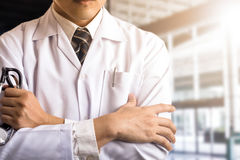 Doctor holding stethoscope Royalty Free Stock Images