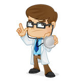 Doctor Holding Stethoscope Thinking y el señalar libre illustration