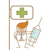 Doctor holding syringe in front of hospital Royalty Free Stock Image