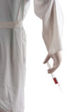 Doctor holding a syringe in his hand (clipping path included) royalty free stock images
