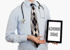 Doctor holding tablet - Alzheimers disease Royalty Free Stock Photos