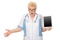 Doctor holding tablet computer royalty free stock photos
