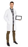 Doctor holding tablet with copy space and clipping path for the Royalty Free Stock Photo