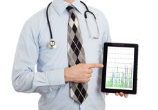 Doctor holding tablet - Graph Royalty Free Stock Photos