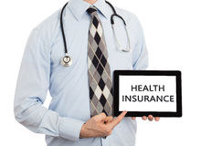 Doctor holding tablet - Health insurance Stock Image