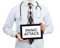 Doctor holding tablet - Panic attack Stock Images
