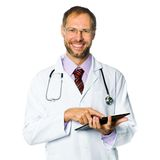 Doctor holding a tablet pc Stock Photos