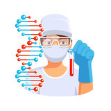 Doctor holding test tube with blood dna in hand Royalty Free Stock Photography