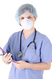 Doctor holding writing pad Royalty Free Stock Images