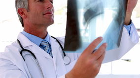 Doctor holding x-ray up to study it stock footage