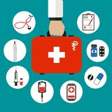 Red medical suitcase in hand on a green background. Doctor holds in hand first aid kit with medical drugs. flat style icons Stock Images