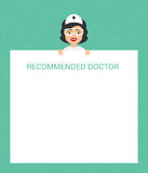 The doctor holds in his hands a piece of advice for the patient. Vector in flat style. Ready-made template. Stock Photos