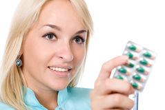 Doctor holds packing of tablets Stock Image