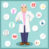 Doctor holds a pills. Doctor in cartoon style. Set of icons on a medical theme Stock Image