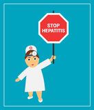The doctor holds a sign saying stop hepatitis. Doctor woman holding a sign saying stop hepatitis Stock Photo