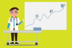 The doctor holds the syringe and on background as a statistics board. Increased disease statistics of the population . Stock Image