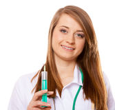Doctor holds a syringe, healthcare concept Royalty Free Stock Photography