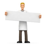 Doctor holds up a poster Royalty Free Stock Images