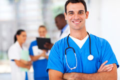 Doctor in hospital. Confident medical doctor portrait in hospital Stock Photo