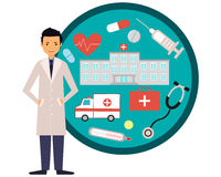 Doctor and hospital. Doctor, hospital and ambulance. The concept of medicine. Vector illustration Royalty Free Stock Photos