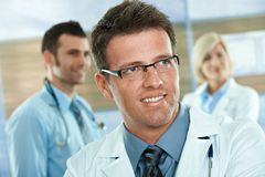 Doctor on hospital corridor Royalty Free Stock Photography