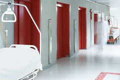 Doctor hospital corridor blurred lift red Royalty Free Stock Image