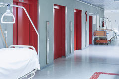 Doctor hospital corridor Lift red bed Stock Photos