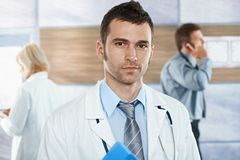 Doctor on hospital corridor Stock Images