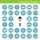 Doctor and hospital icon set Royalty Free Stock Images