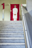 Doctor hospital stairs waiting hall lft red royalty free stock photos