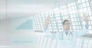Doctor at the hospital with tactile screen Royalty Free Stock Images